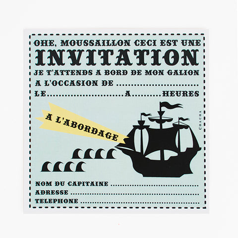 8 cartons d'invitation - Pirate