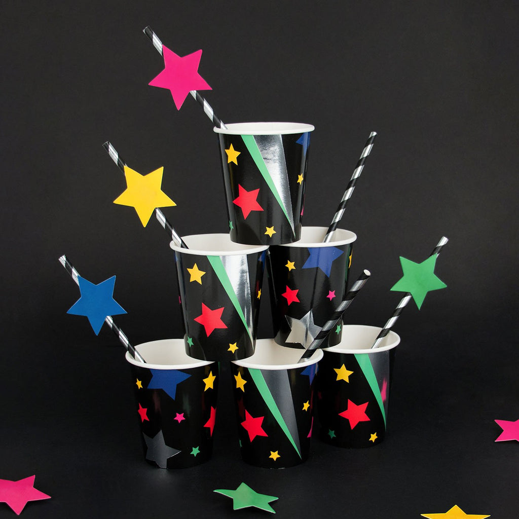 pailles en papier étoiles multicolores pour déco de table disco My Little Day