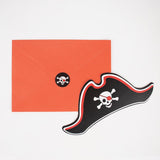 Invitations anniversaire garçon pirate en forme de tricorne par My Little Day