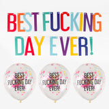 "Kit anniversaire ""Best fucking day ever"" rose pour anniversaire 18 ans"