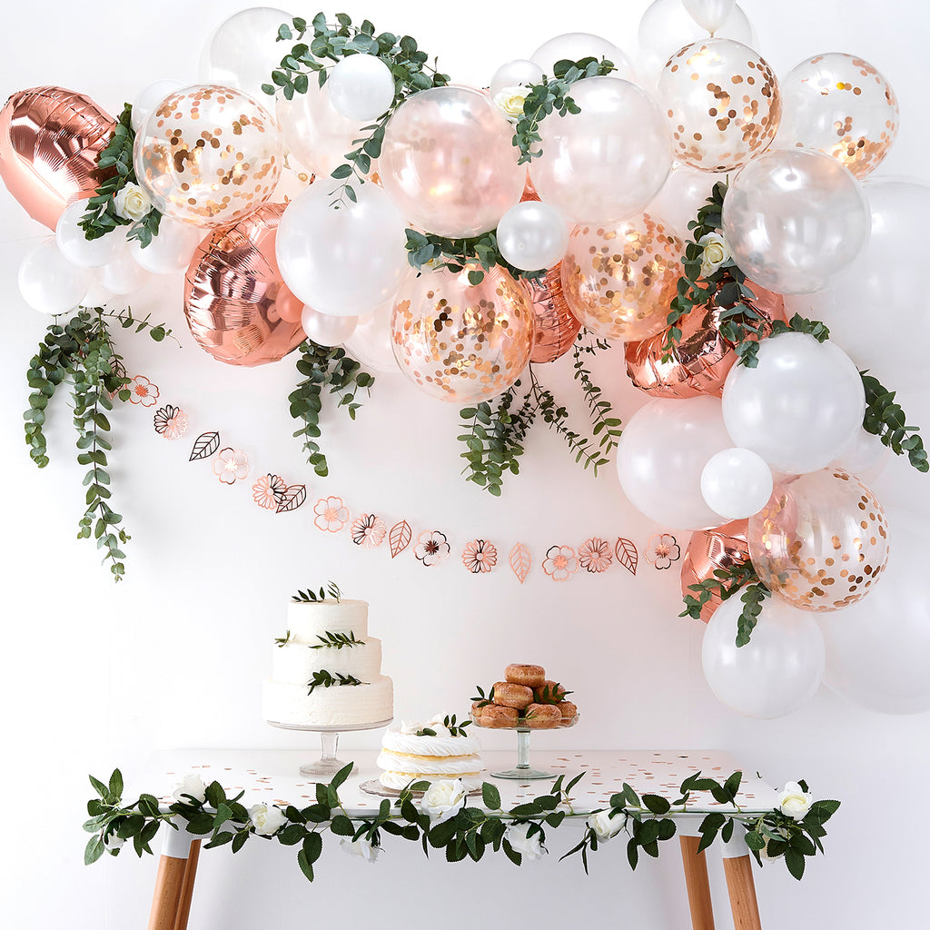 Kit arche de ballon rose gold pour deco mariage, candy bars, baby shower
