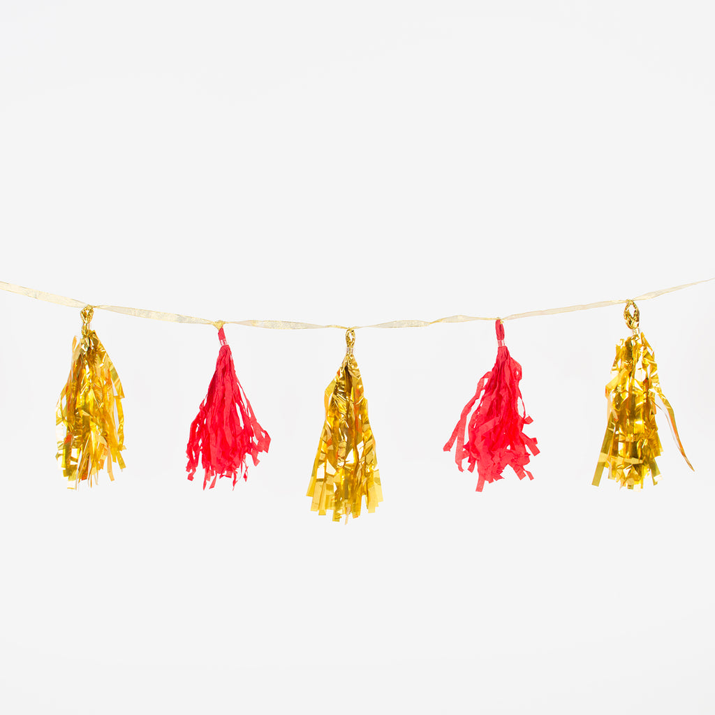 Kit de guirlande tassel - Rouge et or