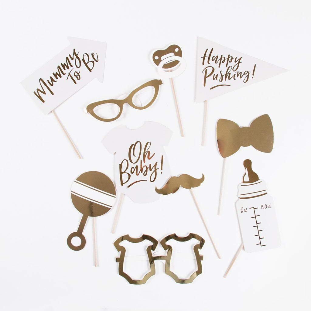 Kit photobooth baby shower doré pour animer une baby shower ou gender reveal