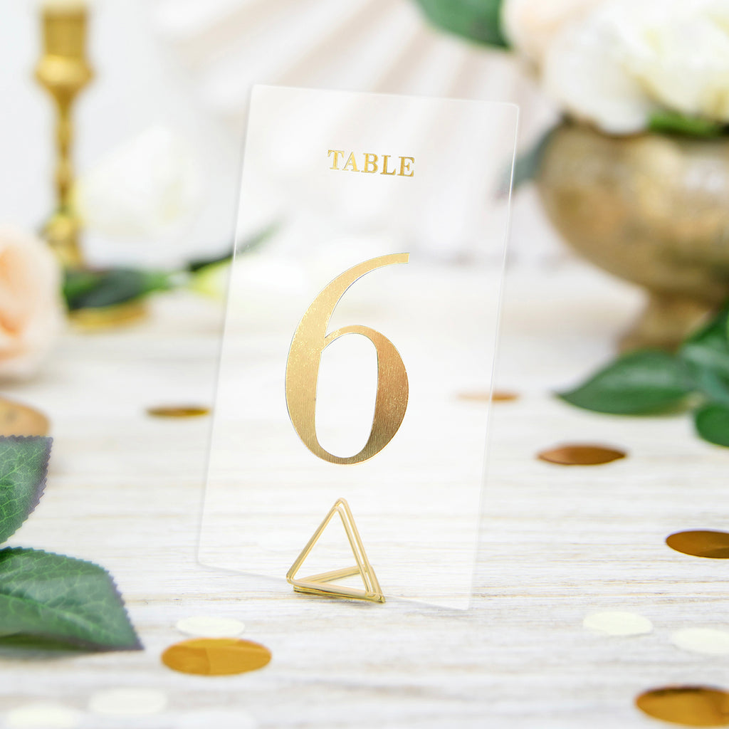 20 Transparent Table Numbers Gold 20 Transparent Table Numbers
