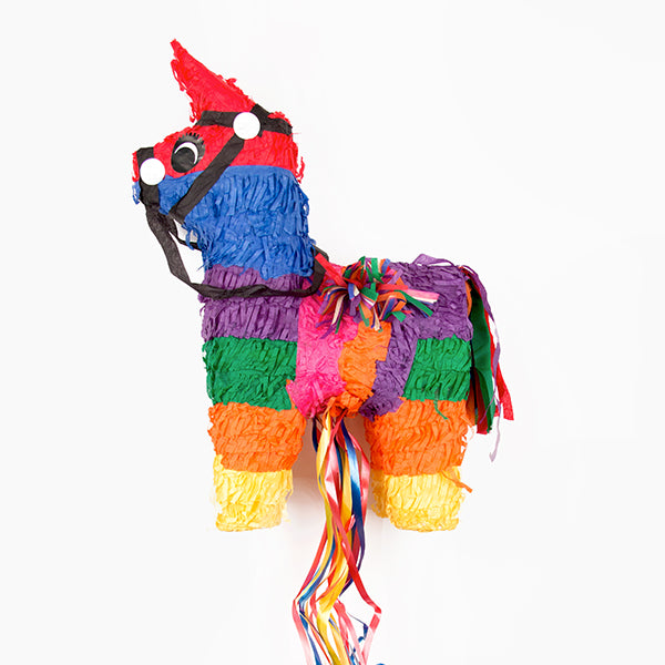 Animation anniversaire enfant : la pinata ane multicolore traditionnelle