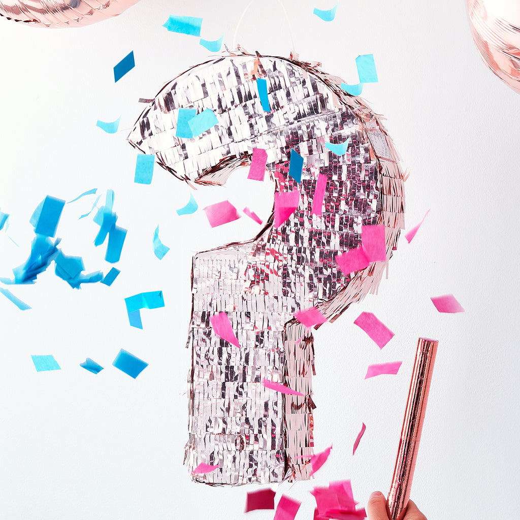 Fille ou garçon ? une pinata gender reveal point d'interrogation
