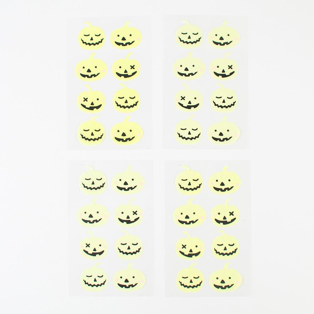 Halloween - 4 planches stickers phosphorescents citrouille