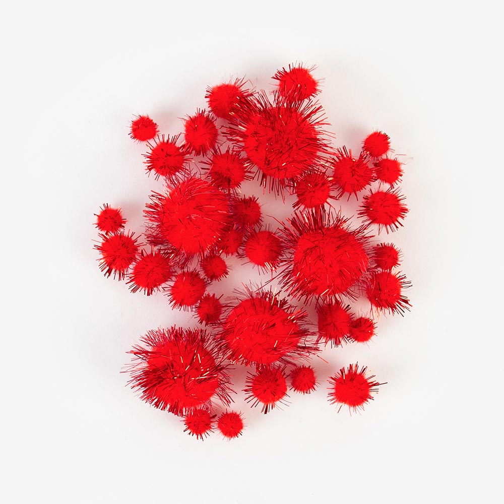 60 pompons Noël - Rouge brillant - My Little Day