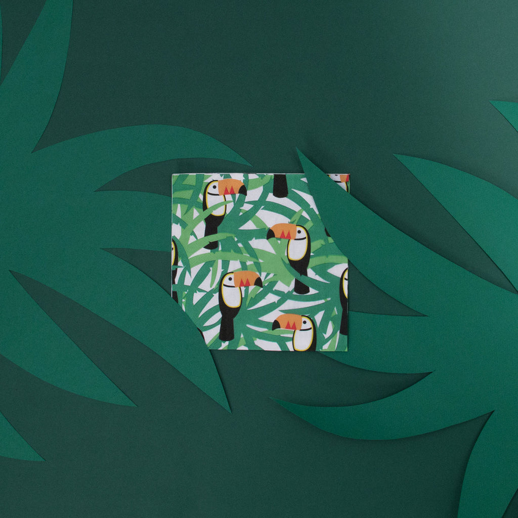 Serviette en papier toucan et feuilles tropicale en papier My Little Day