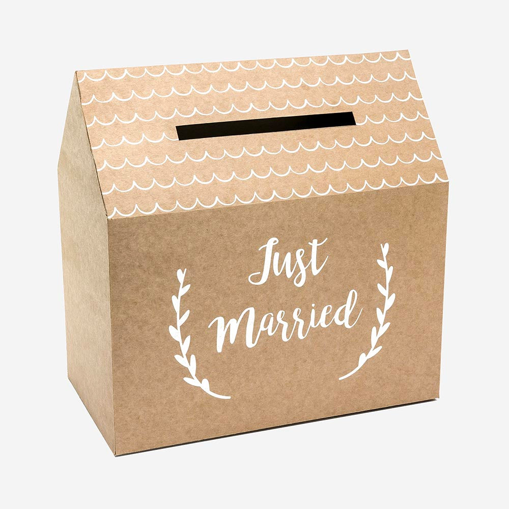 1 urne mariage - Just married - Kraft et blanc - My Little Day