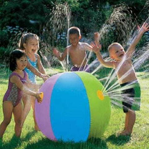 Image of Beach Ball - Kids Playing with a Beach Ball Sprinkler -Damn-Skippy-Wear