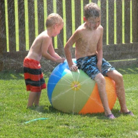 Image of Beach Ball - Kids on a Lawn with a Beach Ball Sprinkler -Damn-Skippy-Wear