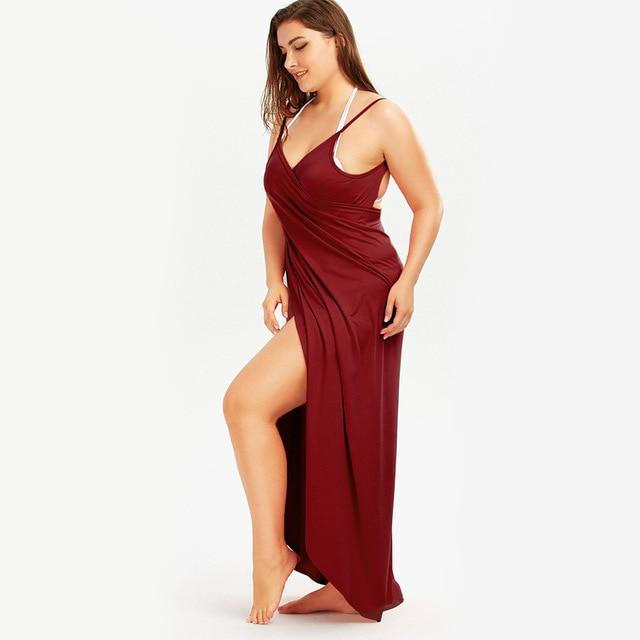 Beach Dress - All The Curves Beach Loungewear Leg Slit Wine Red Damn-Skippy-Wear