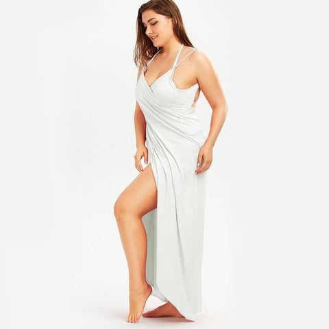 Beach Dress - All The Curves Beach Loungewear Leg Slit White Damn-Skippy-Wear