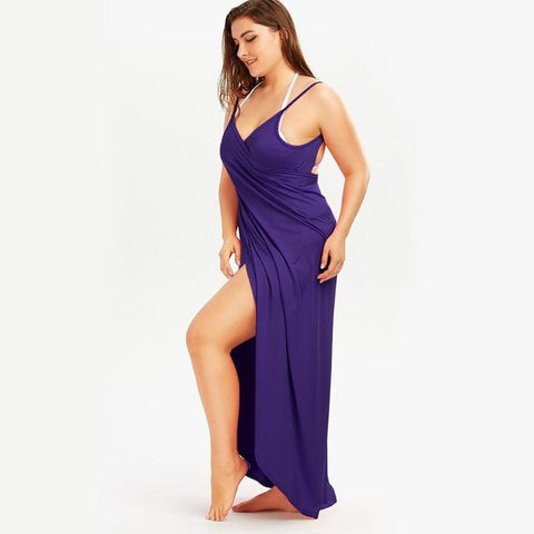 Beach Dress - All The Curves Beach Loungewear Leg Slit Purple Damn-Skippy-Wear