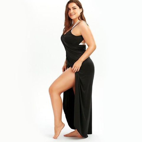 Beach Dress - All The Curves Beach Loungewear Leg Slit Black Damn-Skippy-Wear
