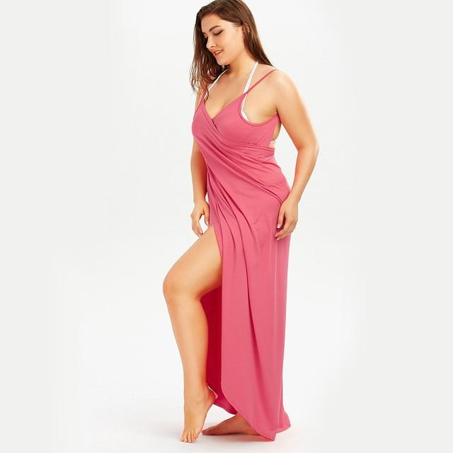 Beach Dress - All The Curves Beach Loungewear Leg Slit Pink Damn-Skippy-Wear