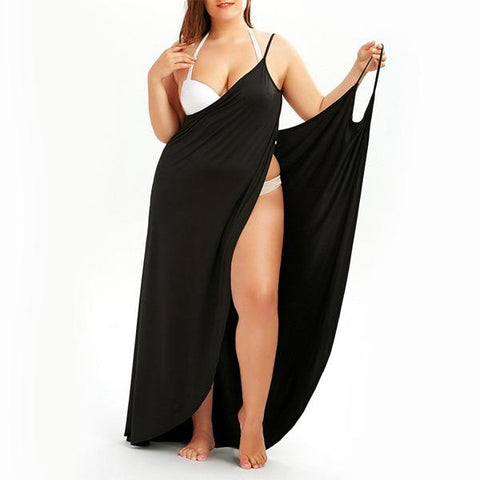Image of Beach Dress - All The Curves Beach Loungewear Leg Slit Easy on and Off Black Damn-Skippy-Wear