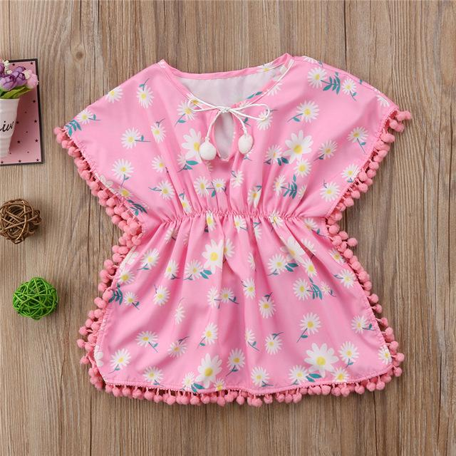 Beach Dress - Baby Girl Tassel Pink Beach Dress -Damn-Skippy-Wear