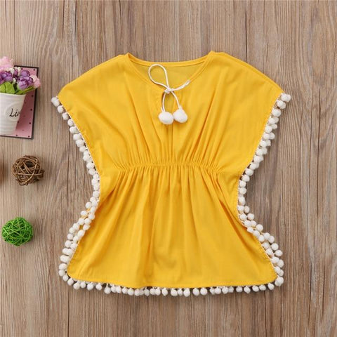 Image of Beach Dress - Baby Girl Tassel Yellow Beach Dress -Damn-Skippy-Wear