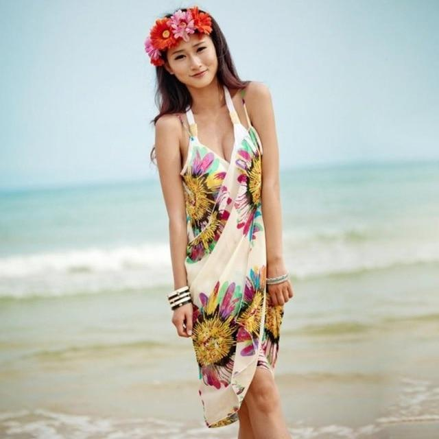 Beach Dress - Floral Charm Beach Dress Beige