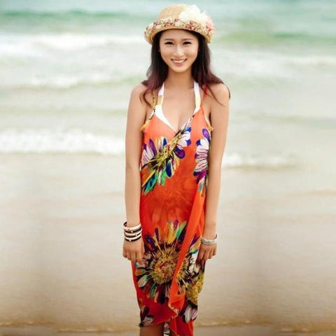 Beach Dress - Floral Charm Backless Beach Dress Red