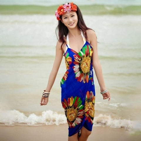 Beach Dress - Floral Charm Backless Beach Dress Blue