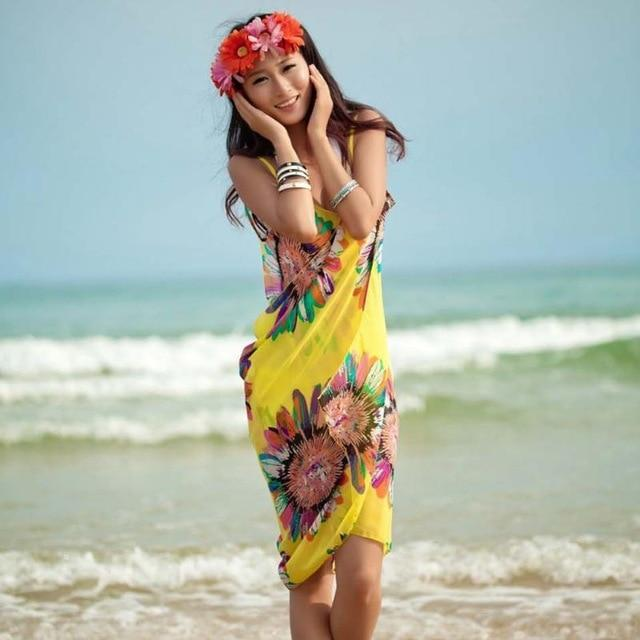 Beach Dress - Floral Charm Backless Beach Dress Yellow