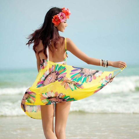 Beach Dress - Floral Charm Backless Beach Dress Woman twirling on a beach