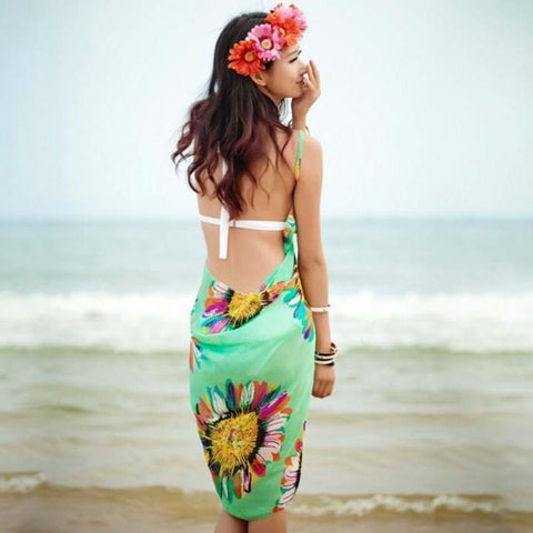 Beach Dress - Floral Charm Backless Beach Dress Teal