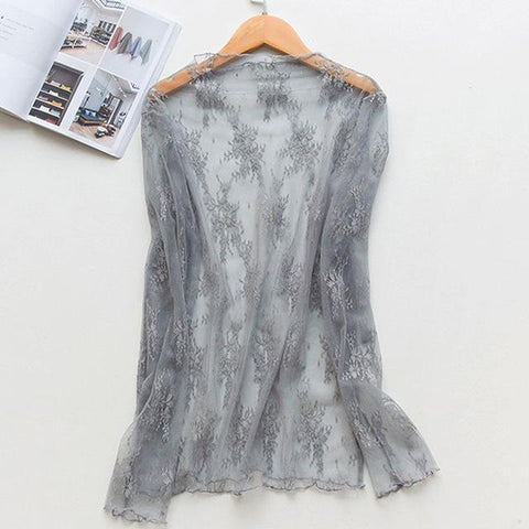 Beach Dress - Grey Blue Lace Cardigan