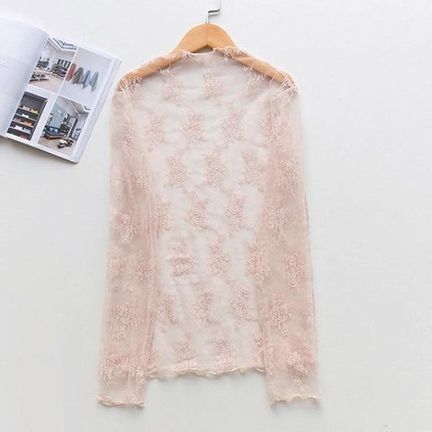 Beach Dress - Pink Lace Cardigan