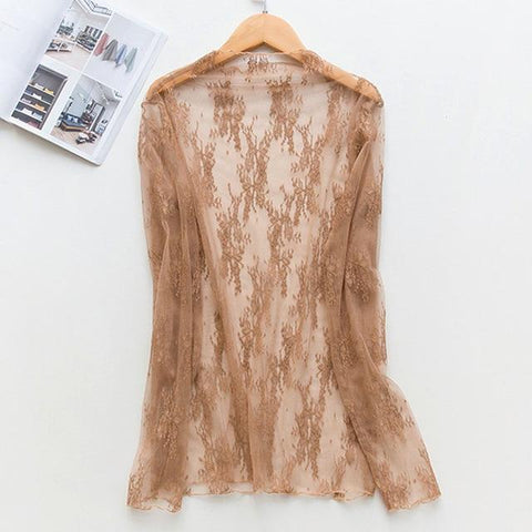 Beach Dress - Khaki Lace Cardigan