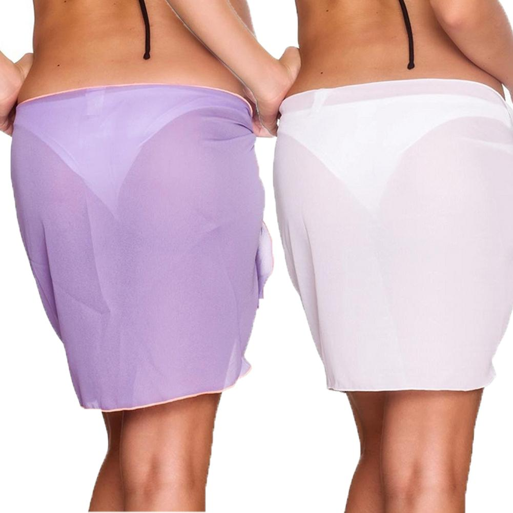 Beach Wear - Glam beach cover mini skirt purple and white