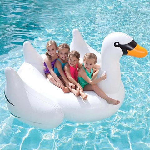 Image of  Kids floating on a Charming Swan Inflatable Bed Pool Floats