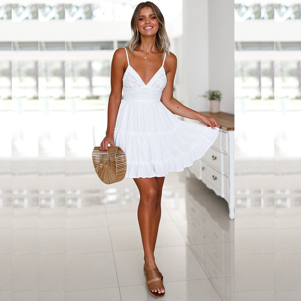 Woman wearing a white Sundress