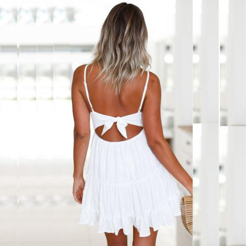 The back of a woman Wearing a white Sundress