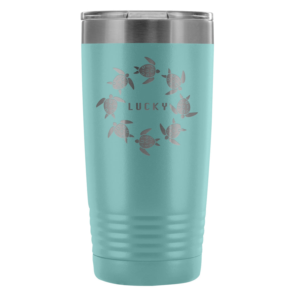 Coffee Tumbler - The Lucky Lo Shu Ocean Turtle Insulated Coffee Tumbler Mug Teal