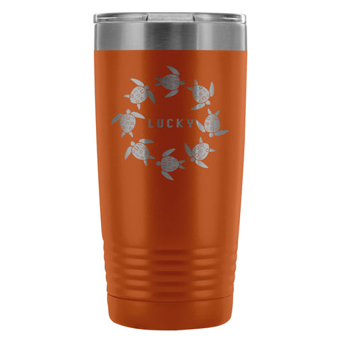 Coffee Tumbler - The Lucky Lo Shu Ocean Turtle Insulated Coffee Tumbler Mug Orange