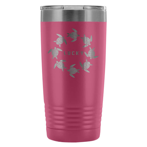 Coffee Tumbler - The Lucky Lo Shu Ocean Turtle Insulated Coffee Tumbler Mug Pink