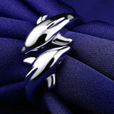 Image of Double Dolphin Adjustable Ring