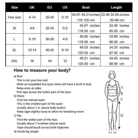 Beach Dress - Woman on a Beach Wearing a Contouring Backless Beach Dress Size Chart