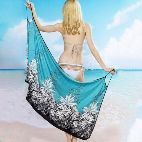 Image of Beach Dress - Woman on a Beach Showing How Easy it is to put on and off this backless beach dress