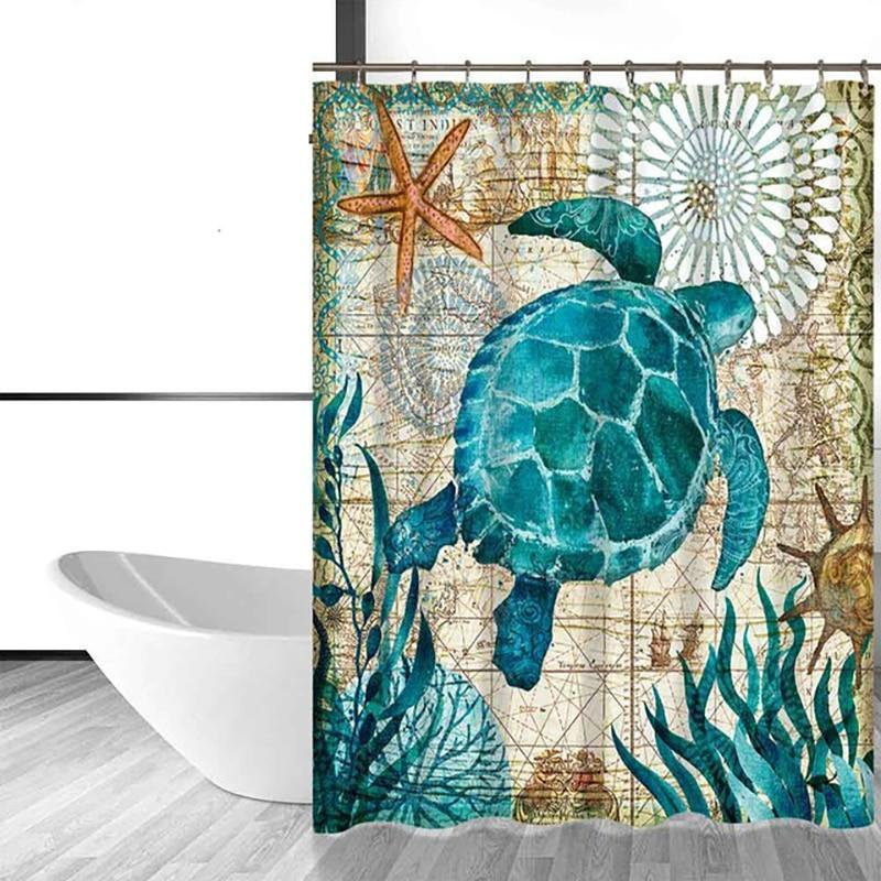 Shower Curtain - Elegant Sea Turtle Bath Curtain