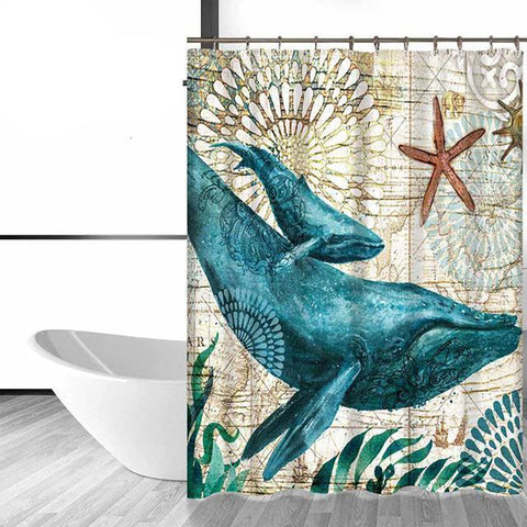 Image of Shower Curtain - Elegant Mama Whale and baby whale Bath Curtain