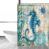 Image of Shower Curtain - Elegant Seahorse  Bath Curtain