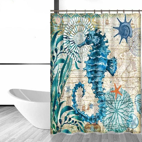 Shower Curtain - Elegant Seahorse  Bath Curtain