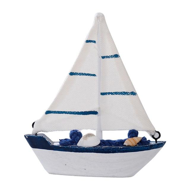 Home Decor - Mediterranean Style Wooden Sailing Ship Ornaments