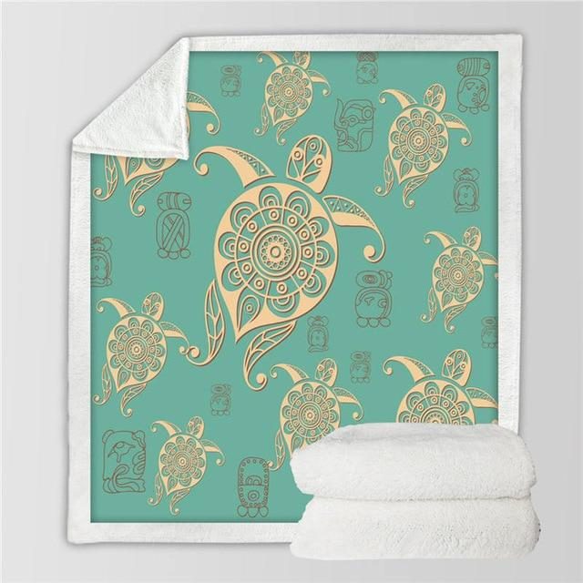 Home Decor - Turtle Sherpa Blanket Turquoise Turtle
