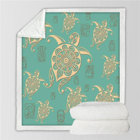 Image of Home Decor - Turtle Sherpa Blanket Turquoise Turtle